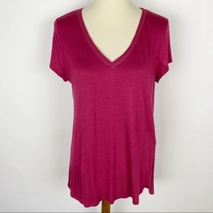 WHBM Wine Red V-Neck SS T-Shirt